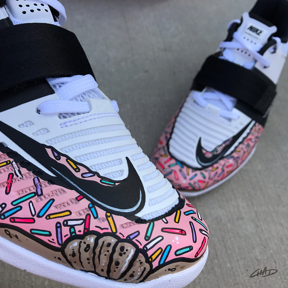 2fba8460bd32 Custom Pink Sprinkled Doughnut Hand painted Nike Romaleos 3 White olympic  weightlifting crossfit shoes
