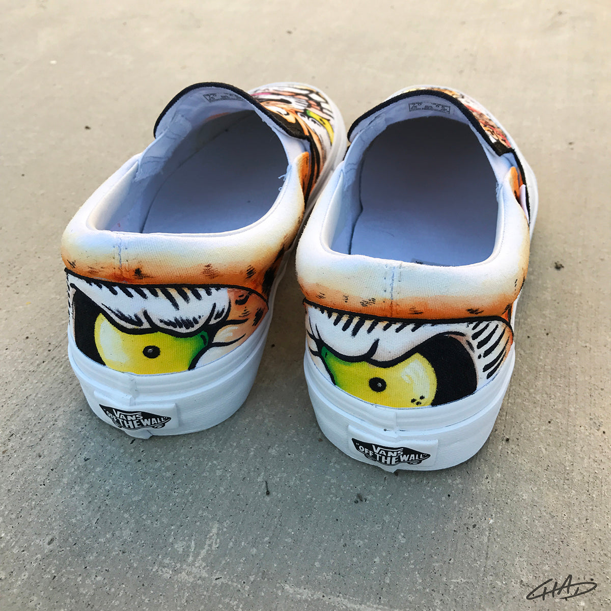 Classic TigerTattoo themed Custom hand painted Vans Authentics Shoes