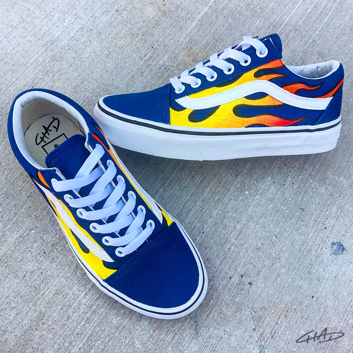 Flames Hand Painted Vans Authentics Shoes