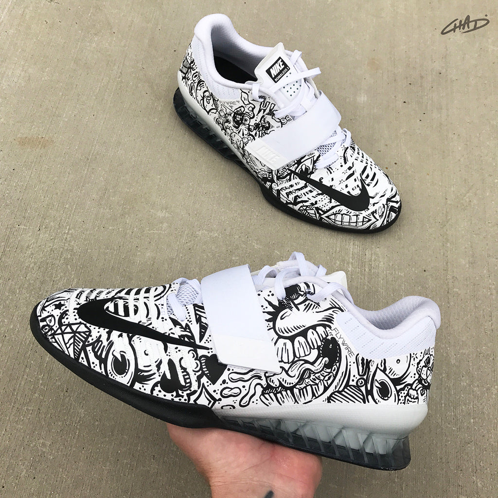0ed2d8b81711 Doodles Hand painted Nike Romaleos 3 White olympic weightlifting crossfit  shoes