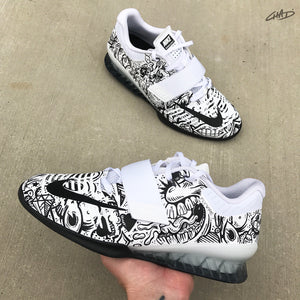 Doodles Hand painted Nike Romaleos 3 White olympic weightlifting crossfit shoes