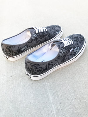 Dark Roses - Custom hand painted Vans Authentic shoes
