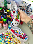 Hello Kitty Custom Hand Painted Vans Authentics Shoes