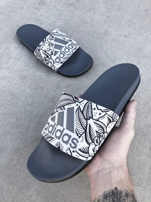Rose Garden - Hand Painted Adidas Slides aka Sandals, Flip Flops