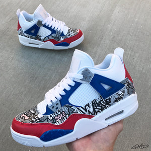 Brit 4's - Custom Hand Painted Jordan retro 4 shoes