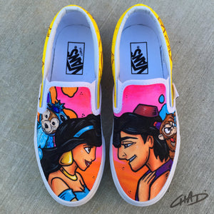 Aladdin Hand Painted Vans Slip On shoes