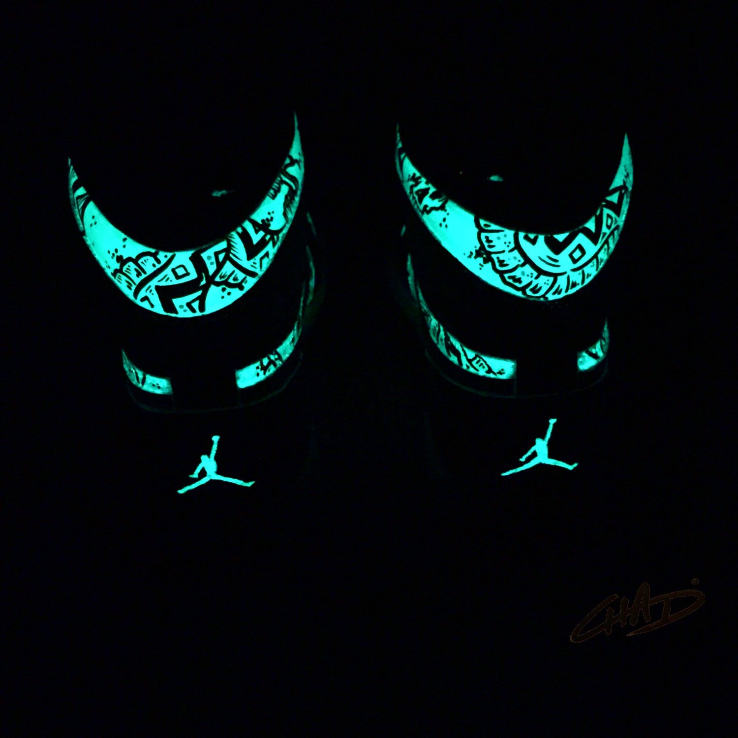 Glow Worms - custom Glow in the Dark Jordan retro 1 Hi tops