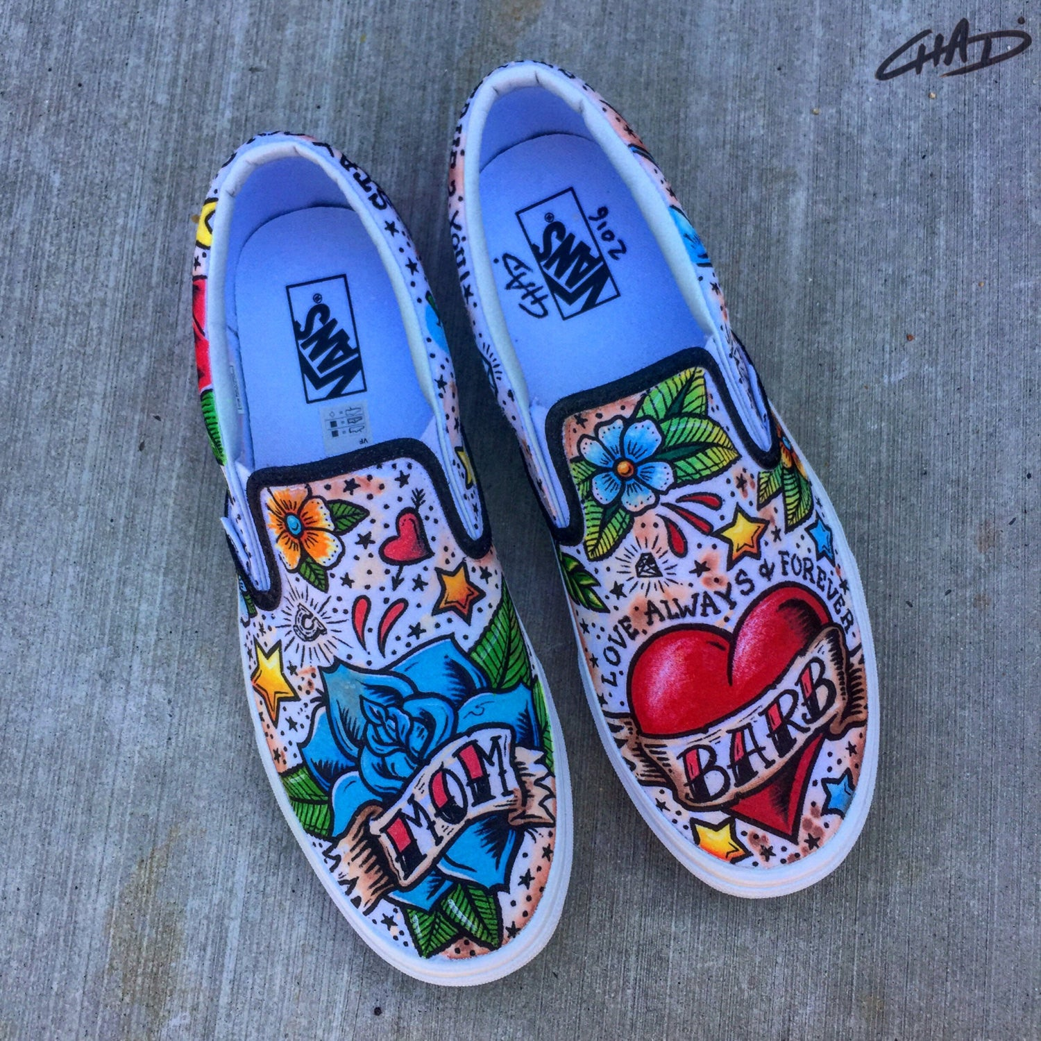 Mom - Tattoo Custom hand painted Vans shoes