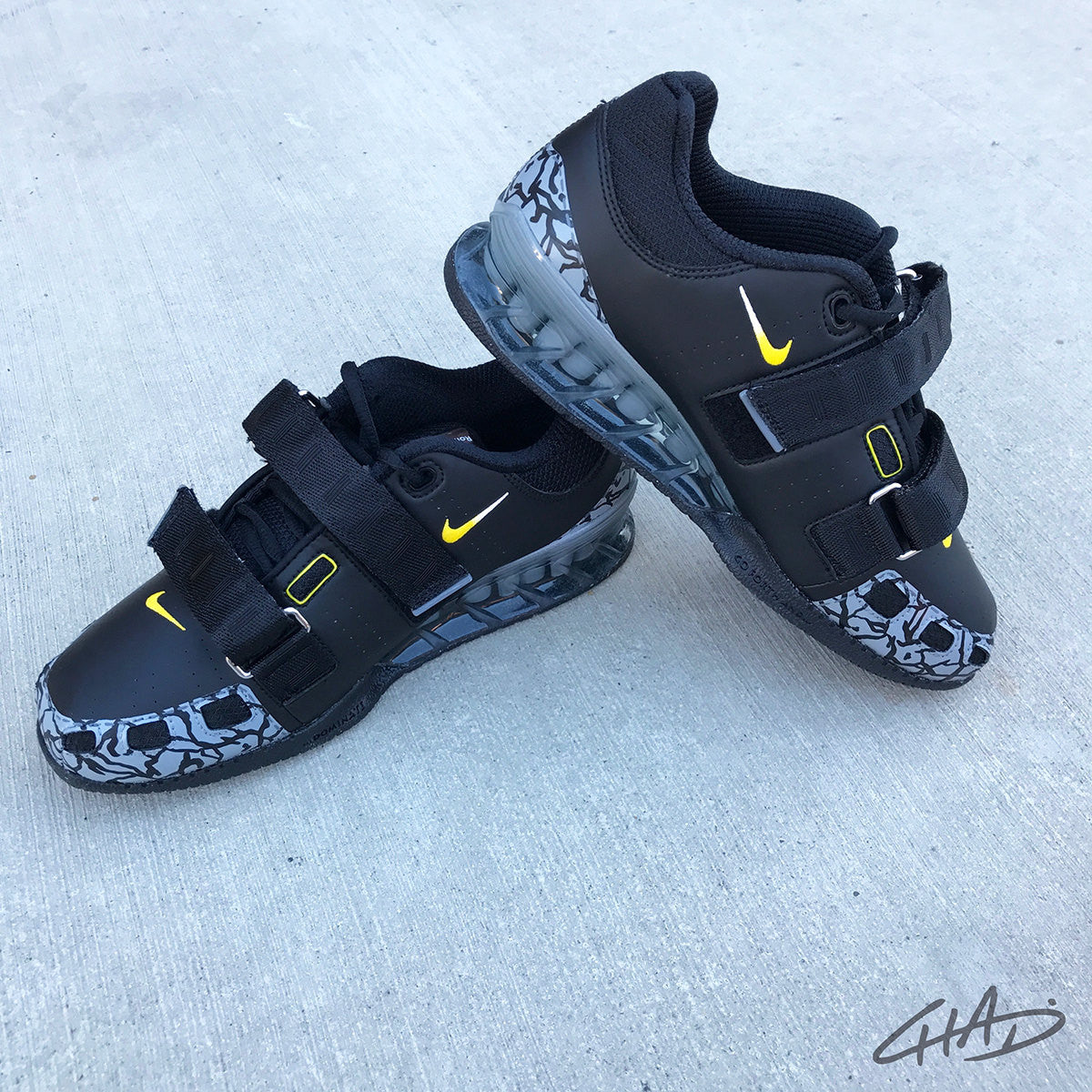 Custom Jordan inspired Yellowjacket Hand painted Nike Romaleos olympic weightlifting crossfit shoes