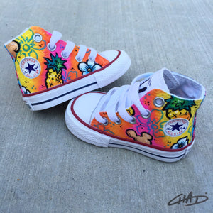 Aloha Minnie Hand painted Kids Converse shoes