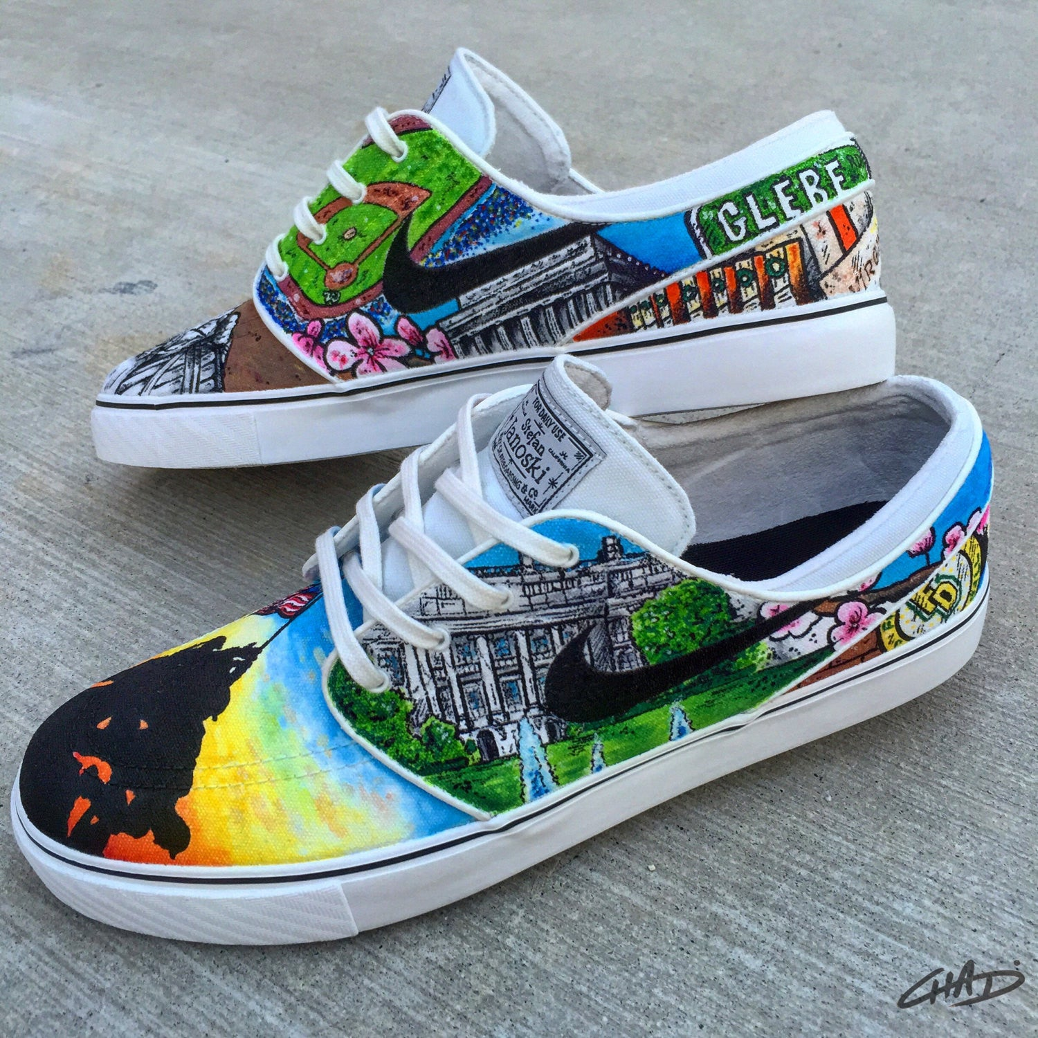 Spots of DC custom hand painted Nike SB Janoski shoes