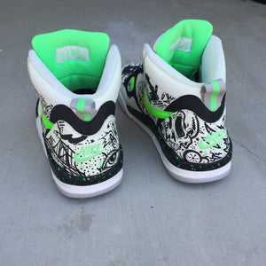 Steel City - Glow in the Dark custom hand painted Nike Air Flight shoes