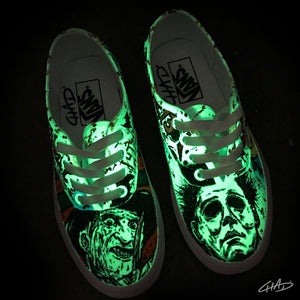 Ultimate Horror!! Freddy vs Jason vs Michael hand painted custom Glow in the Dark Vans shoes