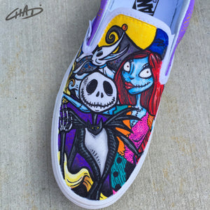 Tangled Nightmare Before Christmas Disney Mash up handpainted Vans shoes