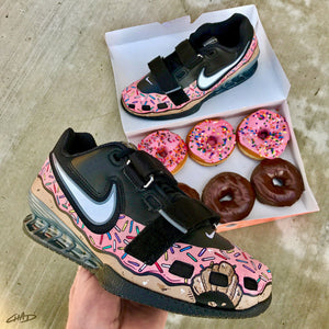 Custom pink sprinkled donut Hand painted Nike Romaleos olympic weightlifting crossfit shoes