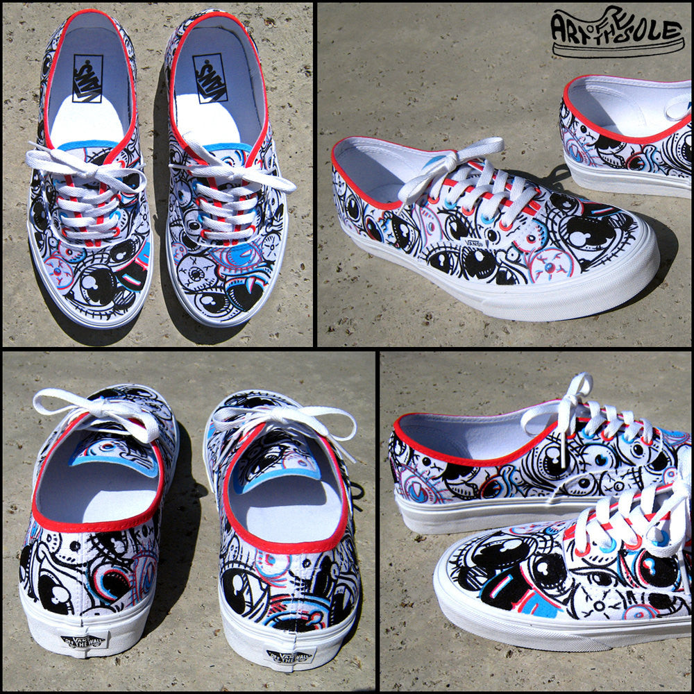 3D Vision Hand Painted Vans Authentic Shoes