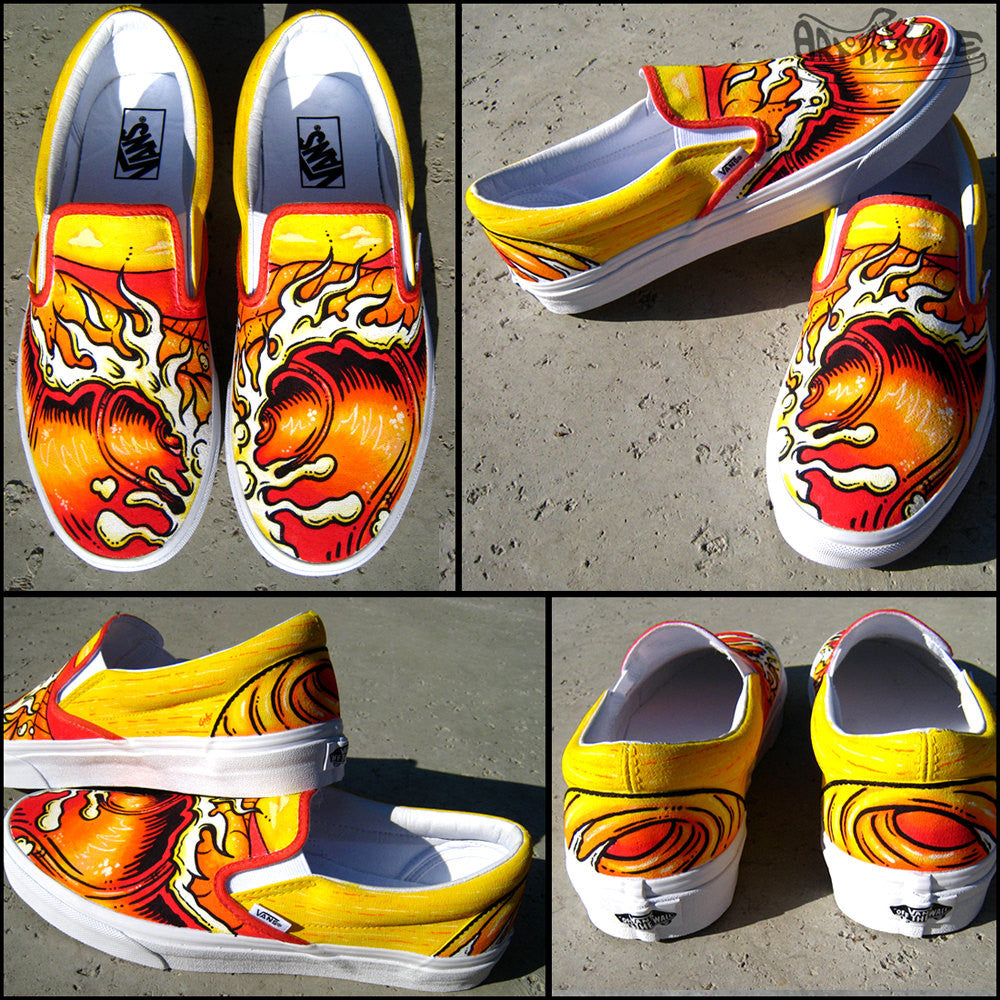 a5e79c3351 Endless Summer Custom Hand Painted Vans Classic Slip Ons ...