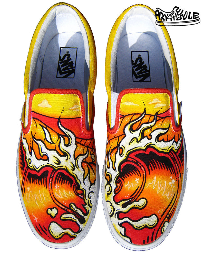 Endless Summer Custom Hand Painted Vans Classic Slip Ons