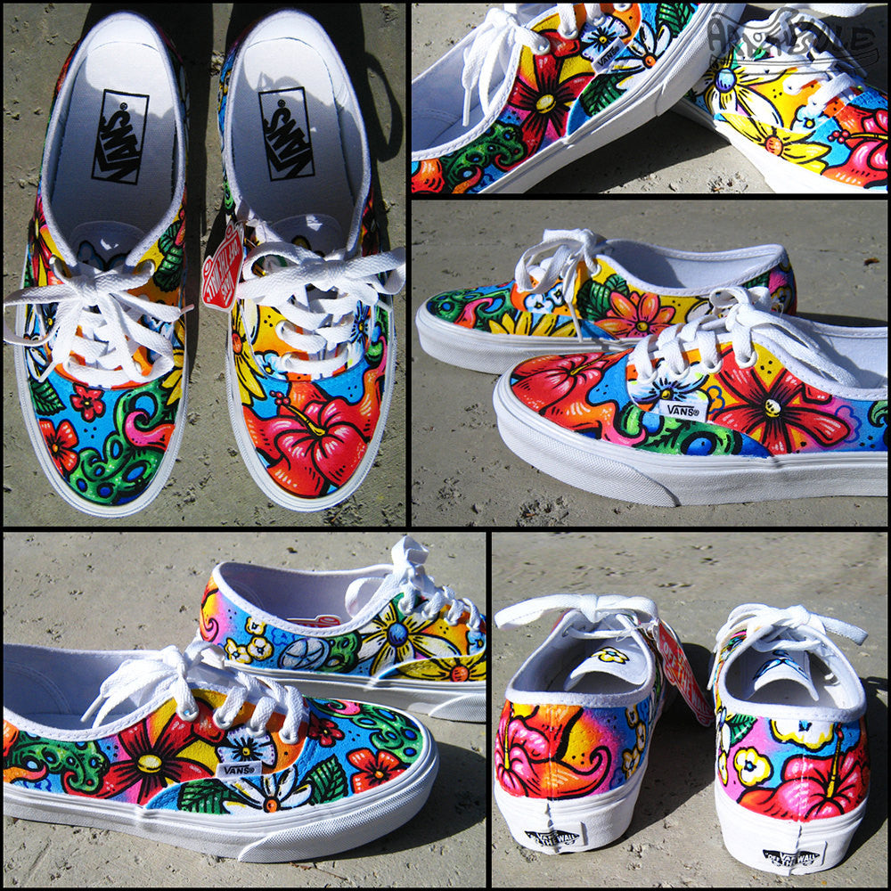 ALOHA! Custom Hand Painted Vans Authentics Shoes