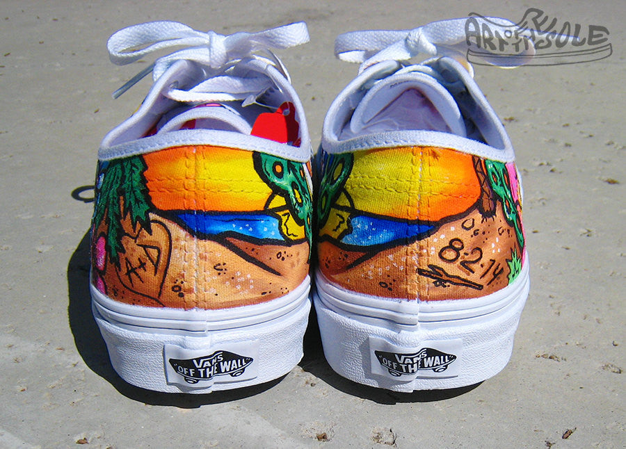 Ticket to Paradise Custom Hand Painted Vans Authentic Shoes