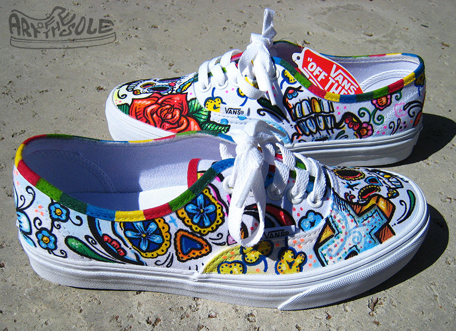 c26ba97434 Day Of The Dead Custom Hand Painted Vans Authentic Shoes ...