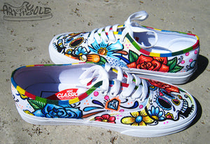 Day Of The Dead Custom Hand Painted Vans Authentic Shoes