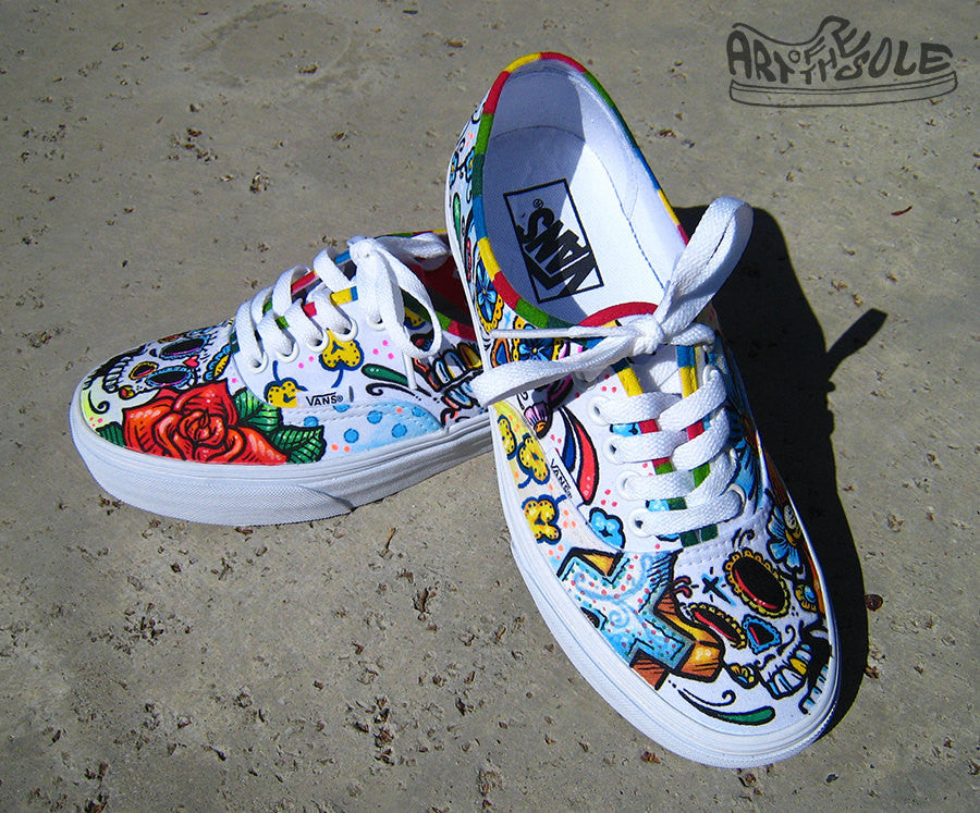 8a3761e89941 Day Of The Dead Custom Hand Painted Vans Authentic Shoes ...