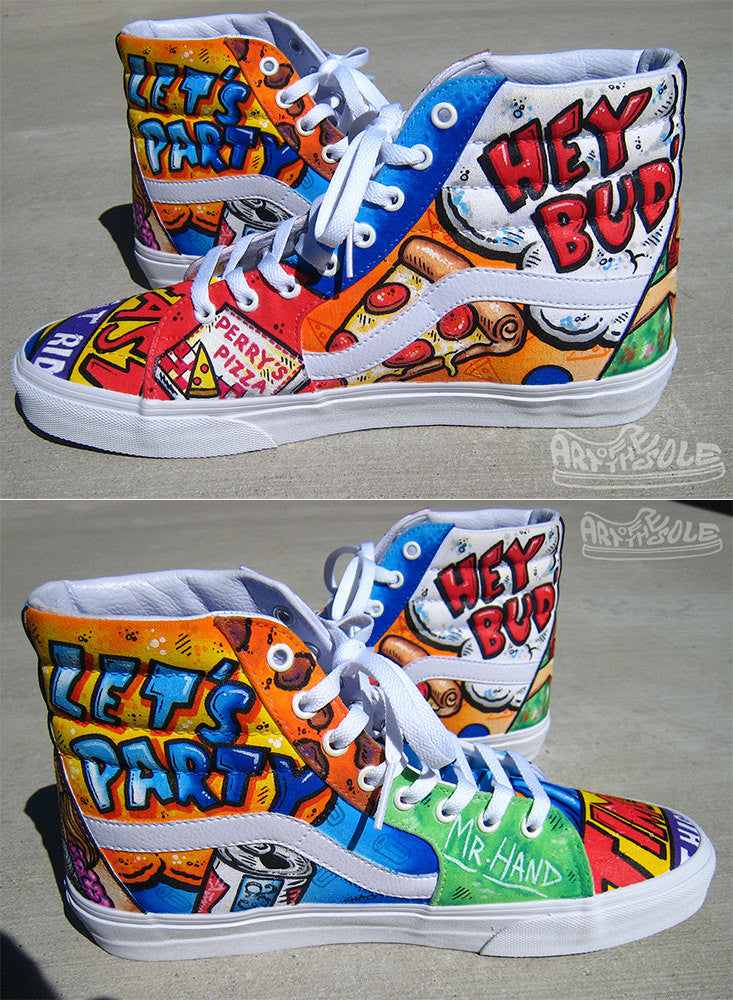 Fast Times  - Custom Hand Painted Vans Hi top Shoes
