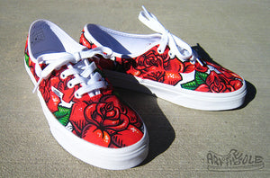 7aeb4b547570 Rose Tattoo - Custom hand painted Vans Authentic shoes ...
