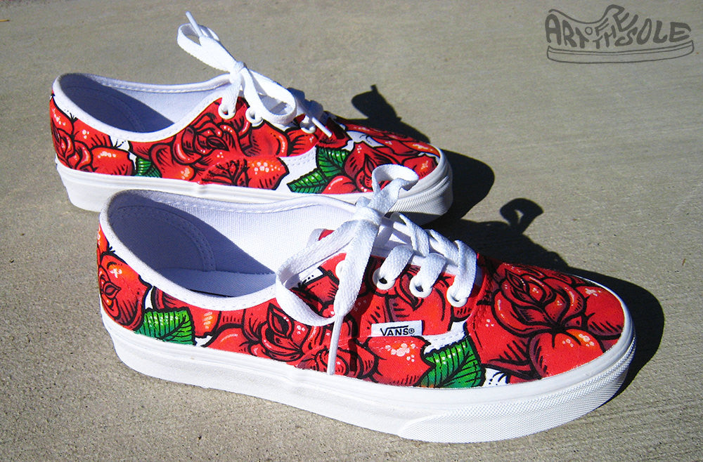 Vans Authentic Custom Rose Tattoo - C...