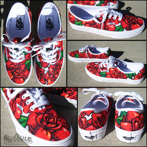 Rose Tattoo - Custom hand painted Vans Authentic shoes