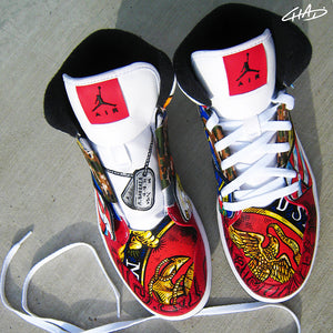 Armed Forces Military USMC Navy Army Marines themed hand painted Jordan shoes
