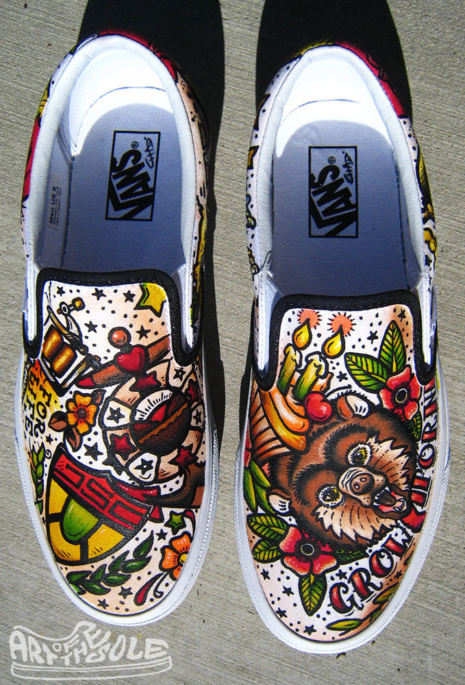 Vintage Tattoo themed Custom hand painted Vans Authentics Shoes