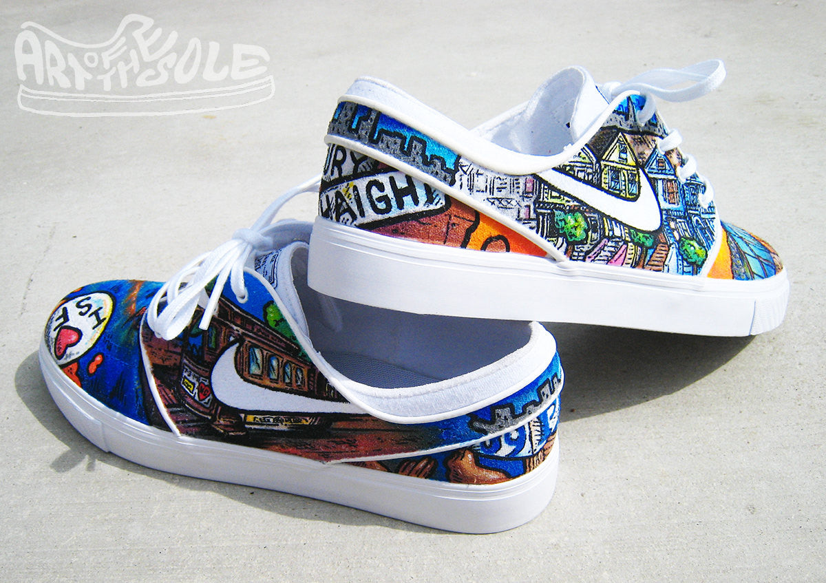 I LOVE SF - Custom Hand Painted Nike Janoski Shoes