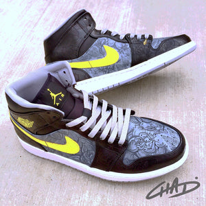 Shadow Rose - Custom Hand Painted NIKE JORDAN 1's