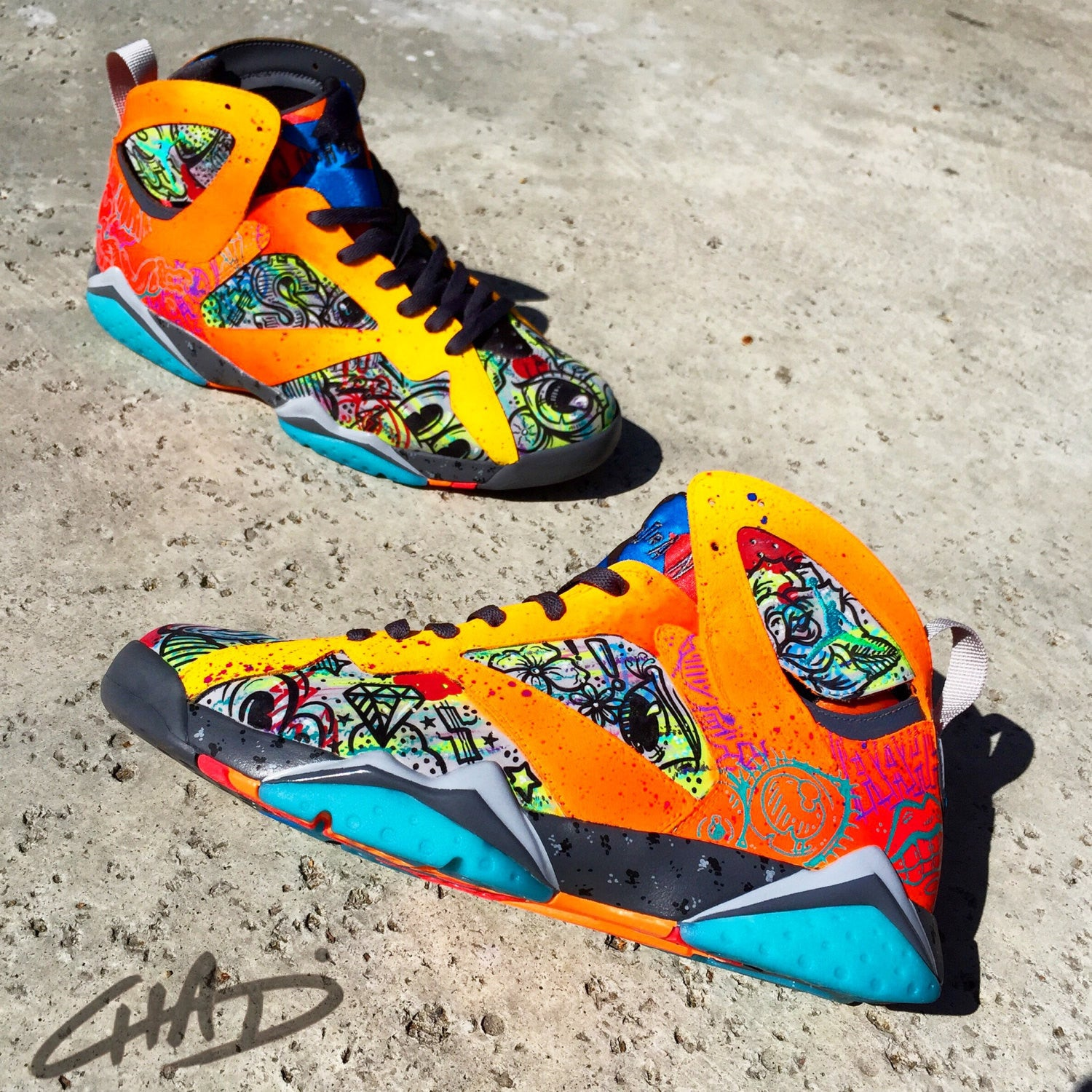 Battery Acid - Custom Painted NIKE JORDAN 7's