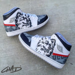 Custom hand painted College Team Mascot themed Jordans