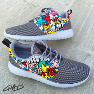Bam Pow Comic Pop Art hand painted Nike Roshe shoes