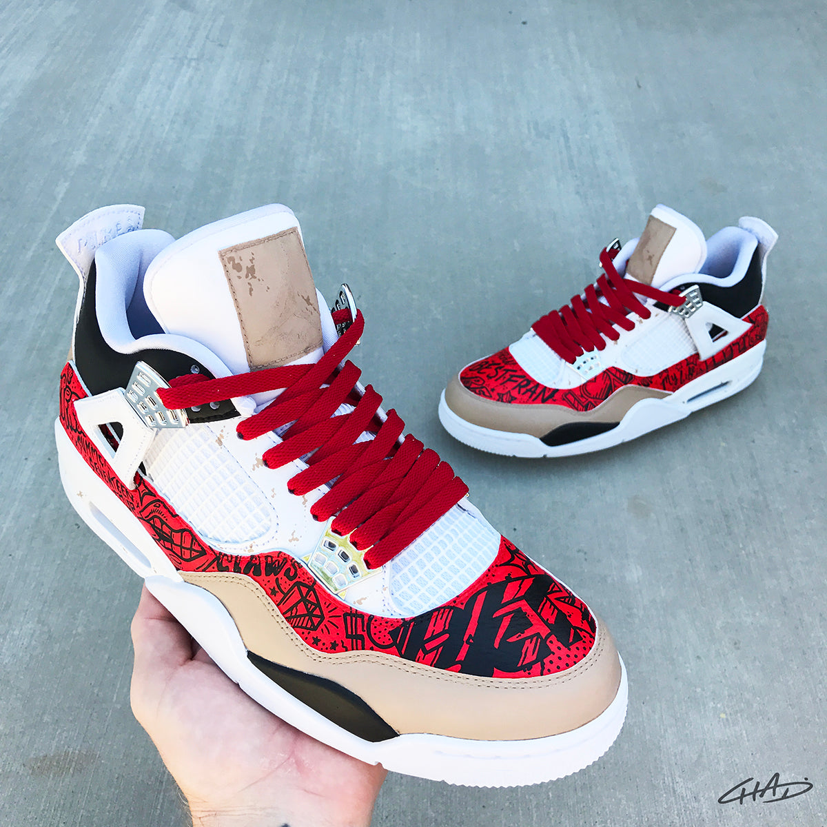 Burs 4's - Custom Hand Painted Jordan retro 4 shoes
