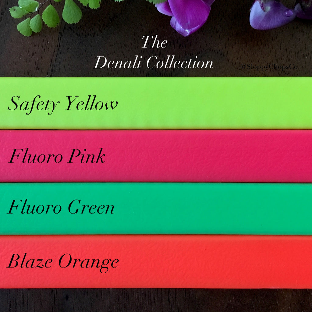 Fluorescent biothane colors, Safety Yellow, Fluorescent Pink, Fluorescent Green, Blaze Orange/Hunter Orange