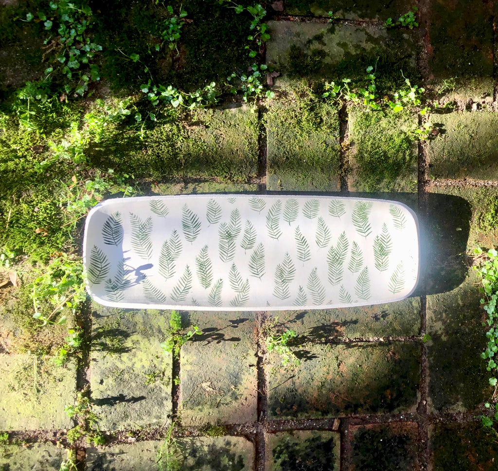 Elongated Serving Platter in Blanc with hand-painted ferns
