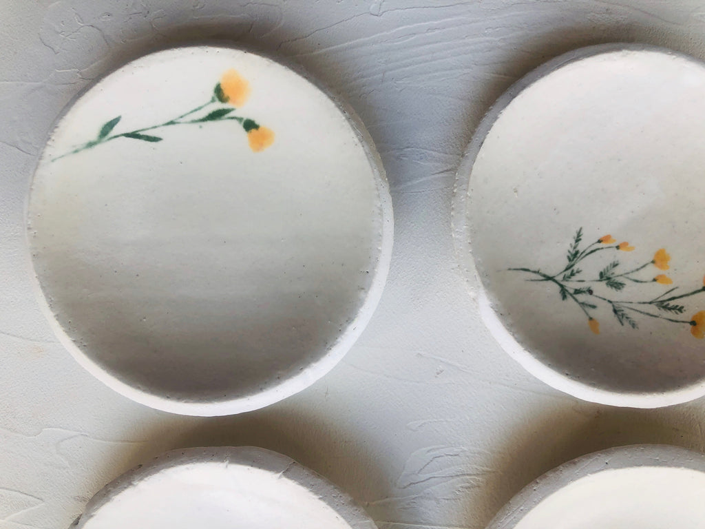 3 inch Orb Dishes hand-painted with flowers (set of 4)