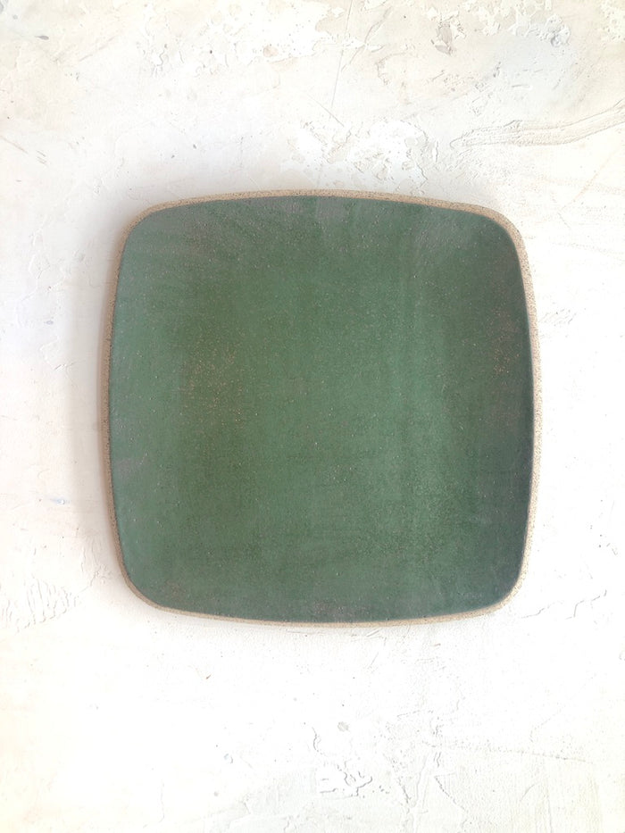 Square Platter in Hunter Green