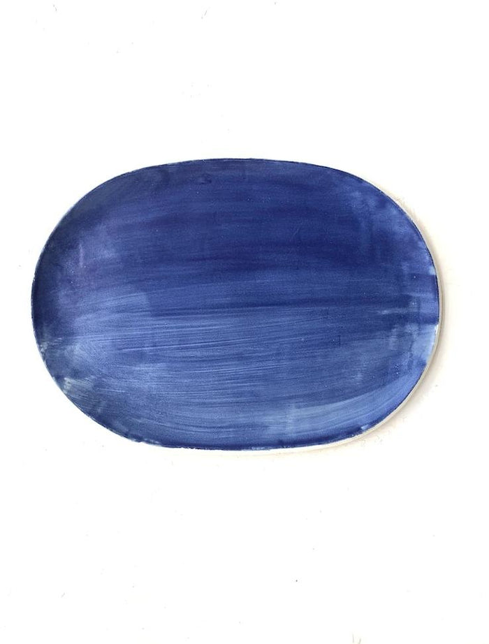 Oval Server in Cobalt Blue