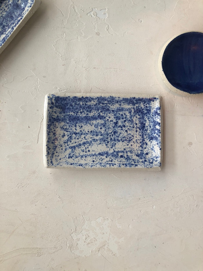 Large Butter Dish in Cobalt Specks
