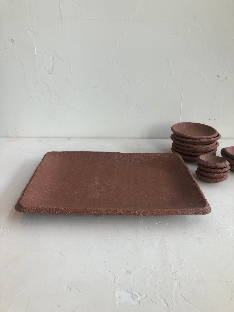 cafe serving tray in Rojo