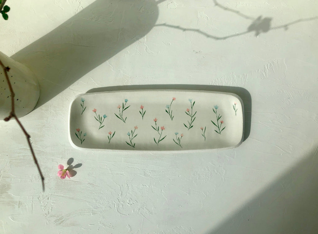 Elongated Serving Platter in Blanc with hand-painted flowers (pink & blue)