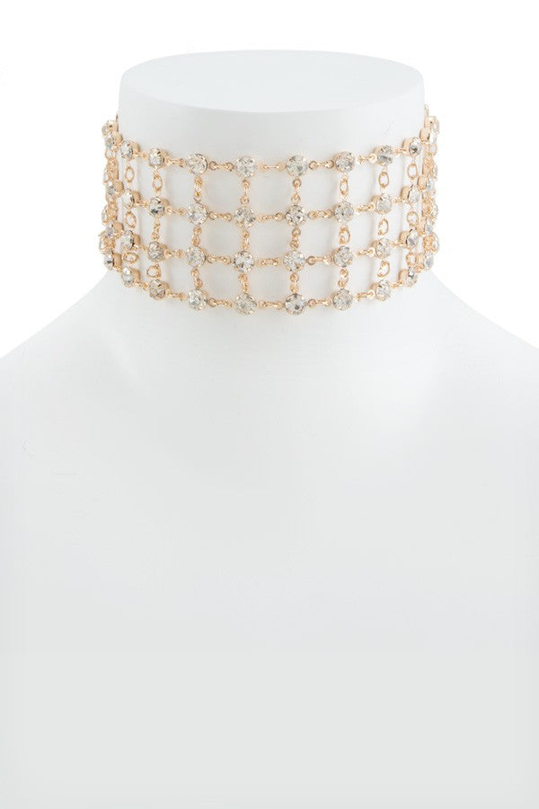 Caged Crystal Gold Choker