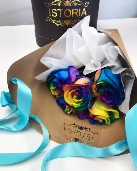 Rainbow roses in the Cone