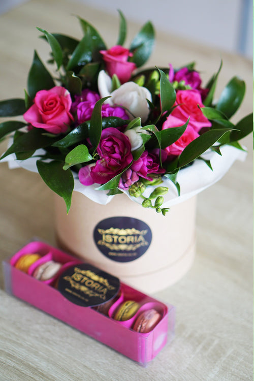 Seasonal Flowers in Small Box With Macaroons Combo